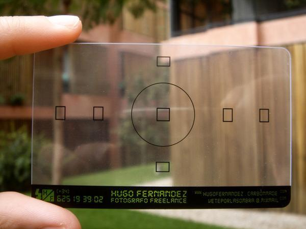 Cartão em formato de lente para fotógrafo