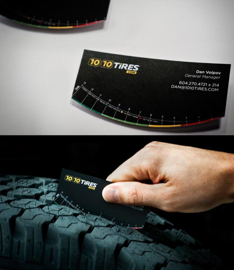 Cartão para medir estado do pneu do carro